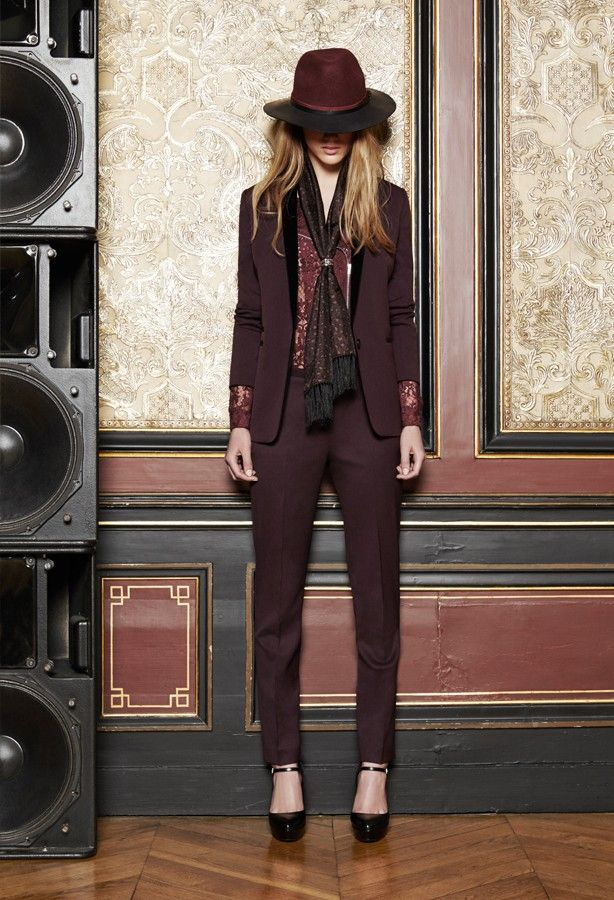 Kooples biker style lace shirt, jacket with velvet collar, trousers with velvet pockets