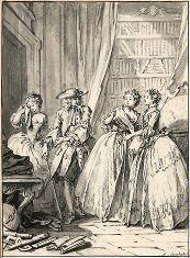 Dessin préparatoire à la gravure pour Les Femmes savantes de Molière, édition de David François Boucher, 1734.