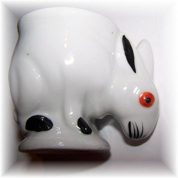 Hand Painted Ceramic Figural Bunny Rabbit Egg Cup by ATokenOfLove, $32.00