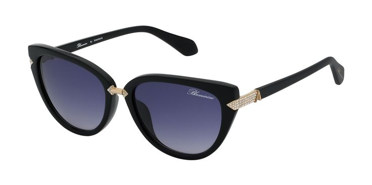 Blumarine Spring Summer 2016 Eyewear by Anastacia • Cat-Eye Shaped Sunglasses With Swarovski Crystals. • This acetate black model, with golden metal finishes, has a sensual cat-eye shape. Geometric details with Swarovski crystals embellish the front and the black temples, enriched by Anastacia personal A as a golden trim. • Products with selling limitations in specific countries. For further info please contact De Rigo: infoblumarinebyanastacia@derigo.com #BlumarinebyAnastacia #Anastacia