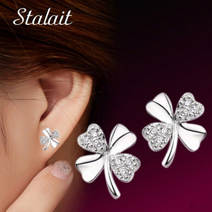 Fashion Women party Clover stud Earrings Silver Color zircon earrings jewelry valentine's day WH01037