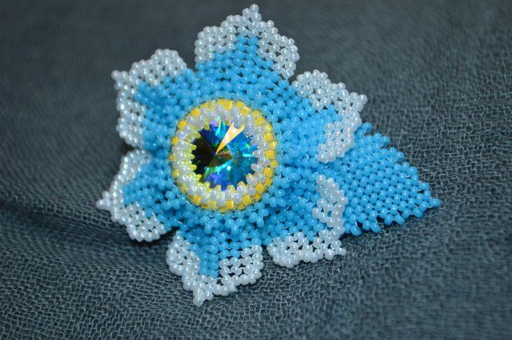 Swarovski Flower Brooch, handmade brooch, beaded brooch, swarovski brooch, birthday gift for her, swarovski jewelry by BeadCornerTreasures on Etsy