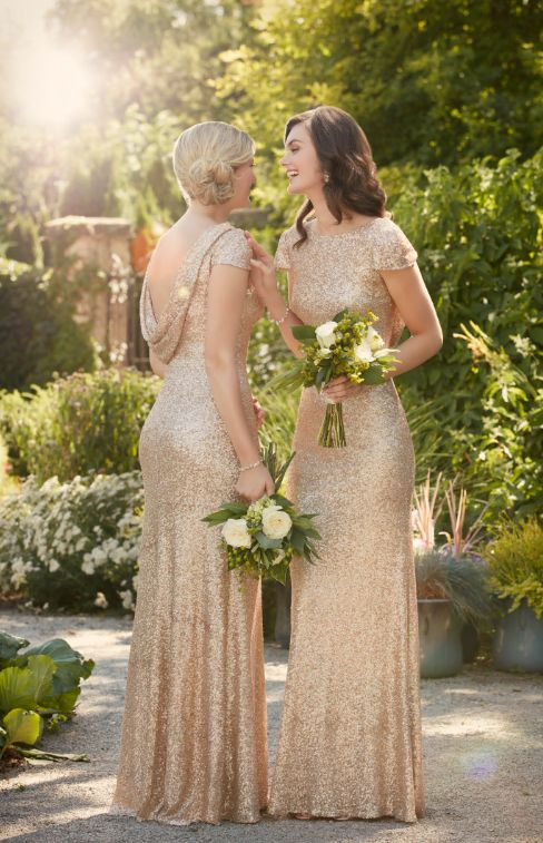 Stunning gold sequin bridesmaids gowns from Sorella Vita.