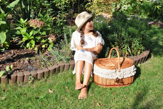 Willow picnic basket romantic basket wicker by AgaArtFactory