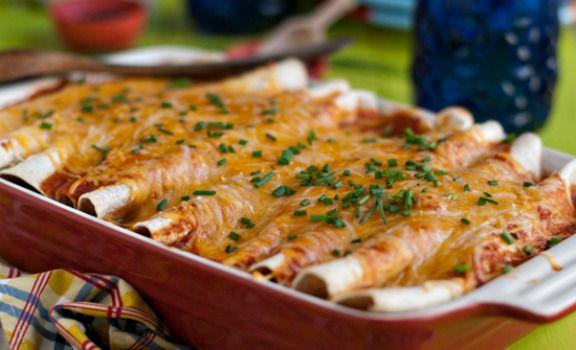 Veggie Enchiladas with Corn, Black Beans & Kale Recipe | Kitchen Daily