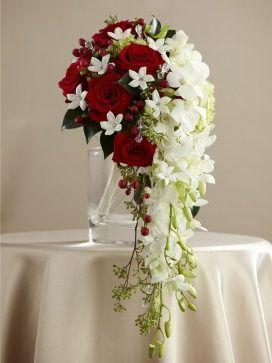 Ceremony. Bride. Cascading bouquet. cascading red and white rose bouquets | red-and-white-bridal-shower-bouquet-interflora-declaration-of-love ...