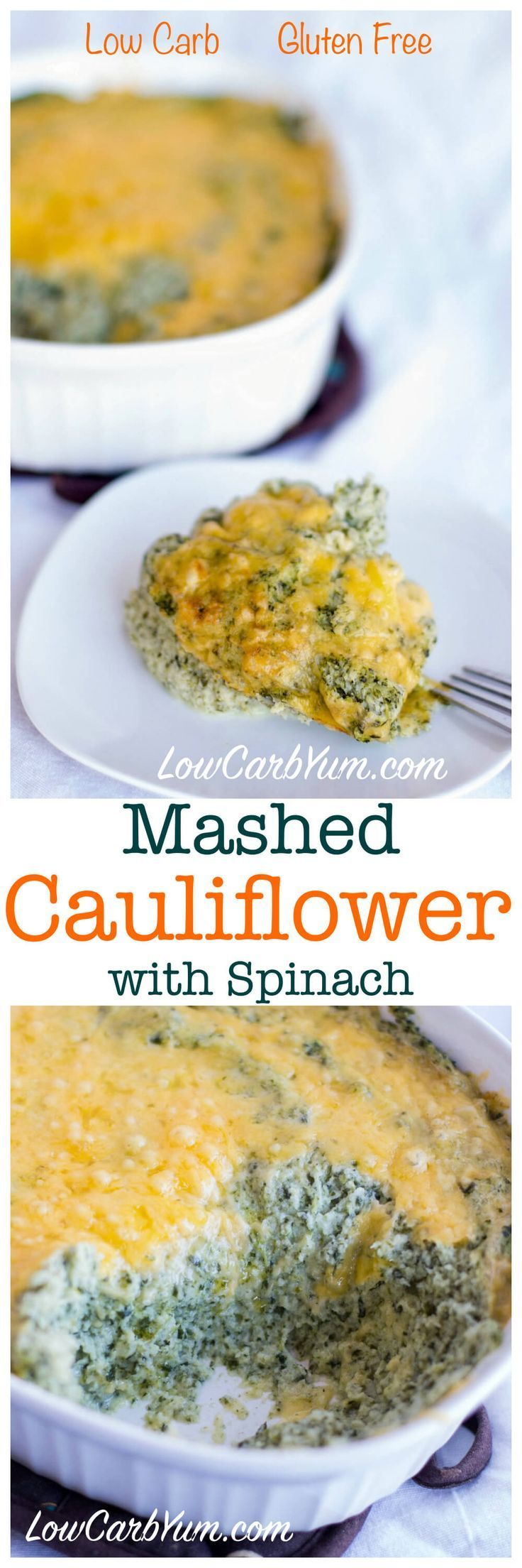 Low carb mashed cauliflower with spinach. Flavored with sour cream and cheese. LCHF Keto Atkins THM Banting