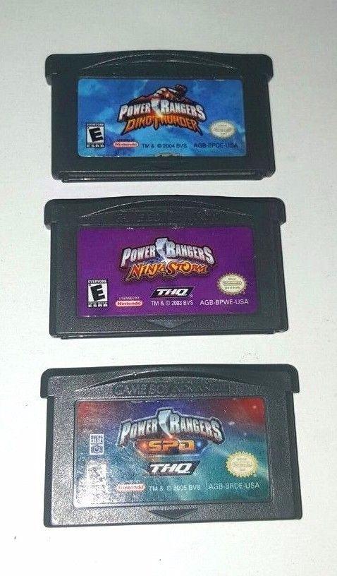 3 Gameboy Advance Games Lot  POWER RANGERS NINJA STORM ~ DINO THUNDER ~ SPD