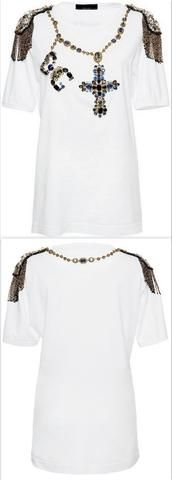 Jewel-Beaded Rosary Tee