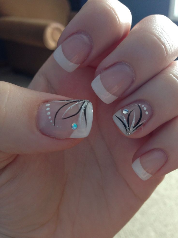 Acrylic nails with design and jewel