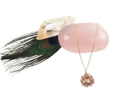 Blooming ketting roze opaal - InTu jewelry