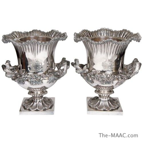Pair of Antique English sterling silver wine coolers by Reily and Storer, London, 1859.  For sale @ www.EstateSilver.com