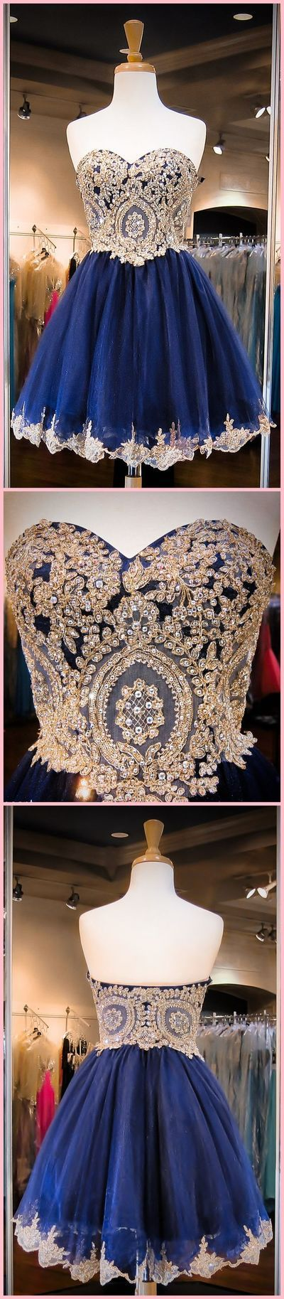 New Arrival Sweetheart Neck, Gold Lace Homecoming Dress, Mini Short Navy Evening Prom Dress,172