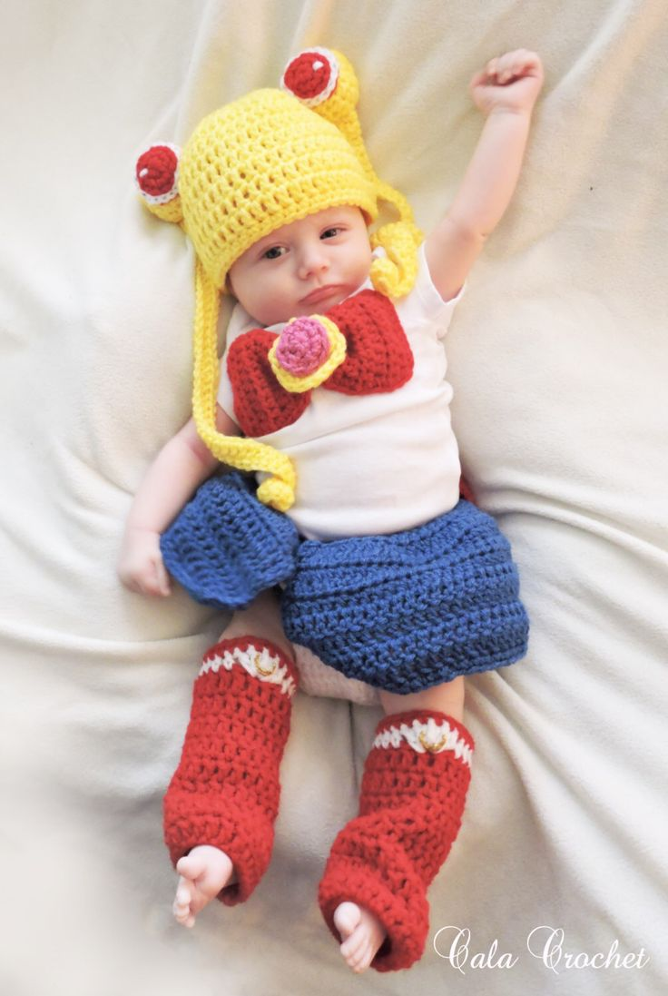 Sailor Moon Inspired Baby Set by CalaCrochet on Etsy https://www.etsy.com/listing/221395384/sailor-moon-inspired-baby-set
