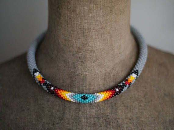 Navajo Inspired Necklace Native American Inspired Beadwork