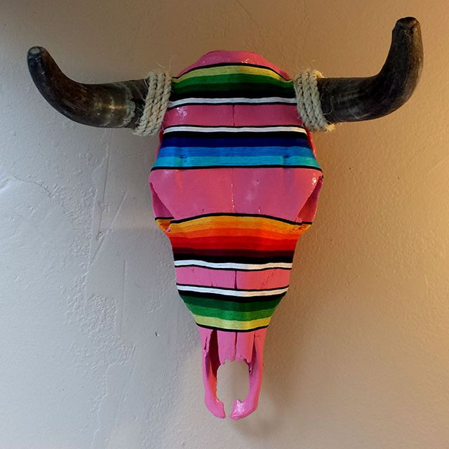 << RE-PURPOSED COW SKULL >> This hand painted cow skull features a Mexican serape design. Serapes are brightly colored shawls that are one of the many distinctive cultural arts of Central America. Our