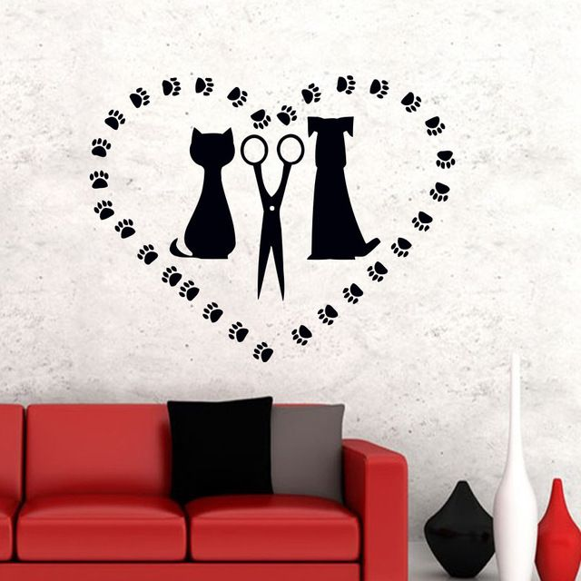 Paw Print Heart Shaped Living Room Wall Sticker Scissors Cat And Dog Silhouette Removable Home Decor