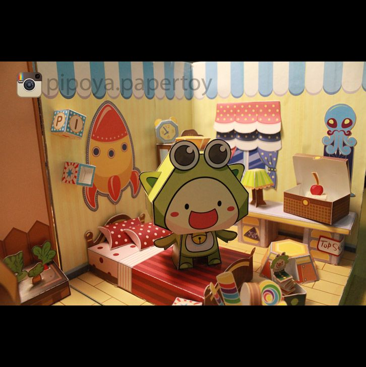 Fascinating Paper bedroom, you can make one of your own. Papertoy PiPoYa cute Gift and craft