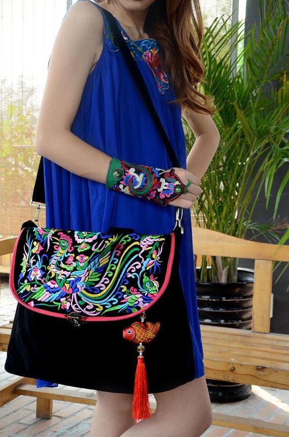 Stickerei Tasche folk Stil Tasche Tasche Canvas von littlePurser