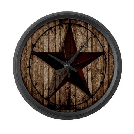 barnwood texas star Large Wall Clock on CafePress.com