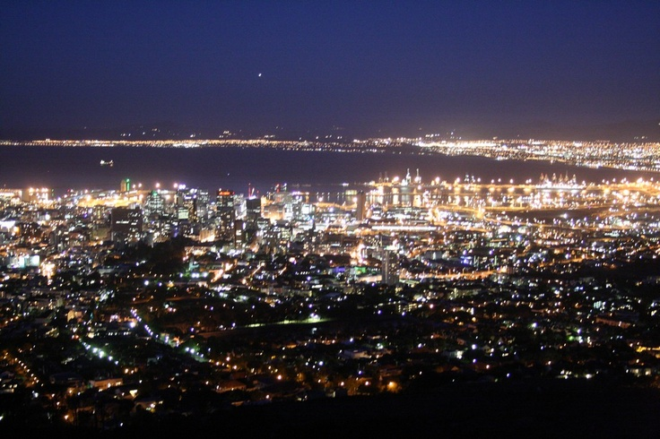 An aerial view of Cape Town at night #capetown #southafrica