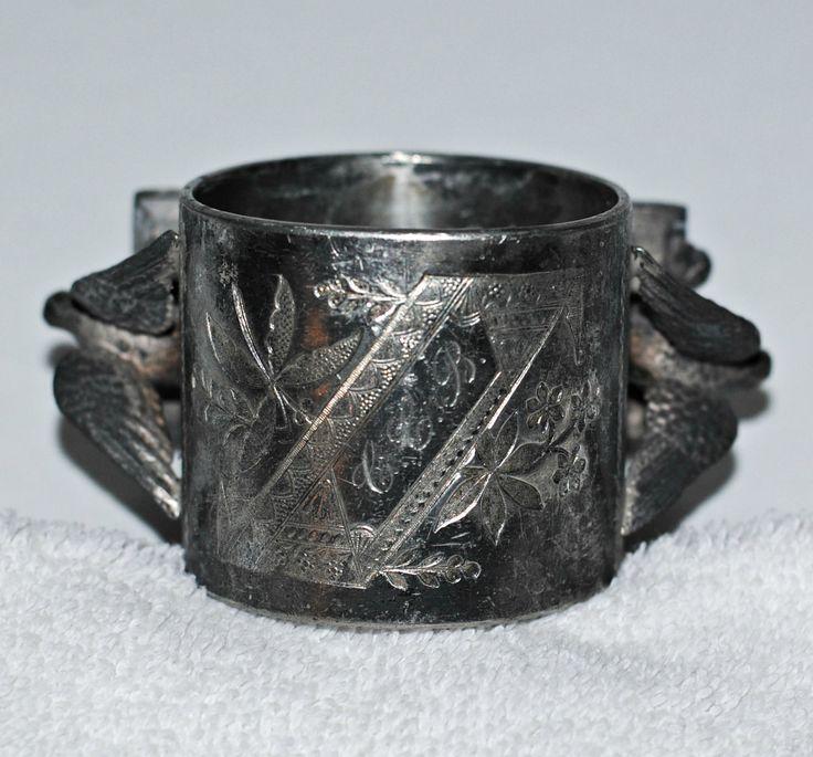 Antique Meriden Silver Birds Napkin Holder, Silver Plated Napkin Ring, Ornate Victorian Napkin Holder, Antique Napkin ring by TheBouncingFrogs on Etsy