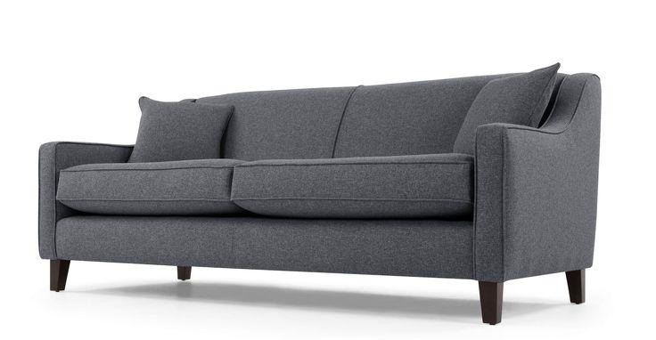 Halston, canapé 3 places, charbon tissé
