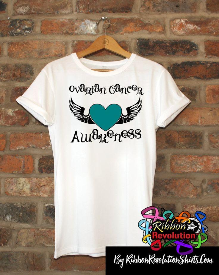 Ovarian Cancer Awareness Heart Tattoo Wing Shirts
