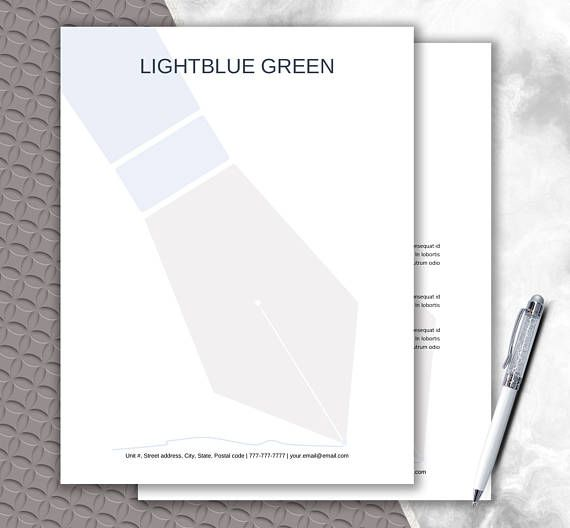 Fountain Pen Design Letterhead Template Instant Download  DIY