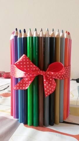 colorful pencil vase with a ribbon