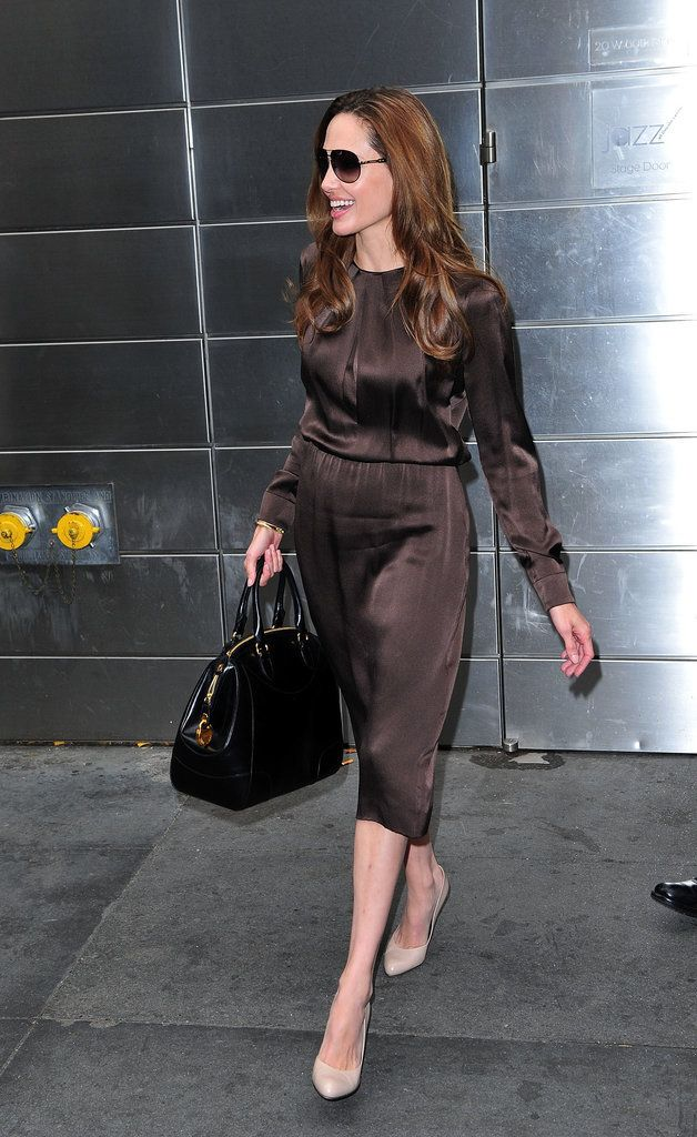 Angelina Jolie Proves You Can Wear Brown and Black Together — Just Coordinate With Neutral Pumps