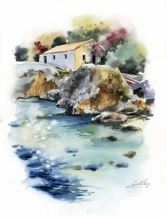 Lagune watercolor painting, landscape painting, blue lagune, house and rocks Original Watercolor Painting Nautical Modern Watercolour Art One of a Kind Artwork Medium: top branded watercolor paints on watercolor cold press archival paper 40 lb (300g) Size: 11.8x15.7 Signed front and back Dated on the back. Not framed. All paintings are gift wrapped in a cellophane insert and cardboard support to best protect, shipped by Registered International Mail with tracking number. For more Origin...