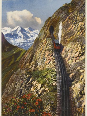 Mt Pilatus Railway, Switzerland. Have had the pleasure of riding this already! I believe this is the steepest cogwheel railway in the world.