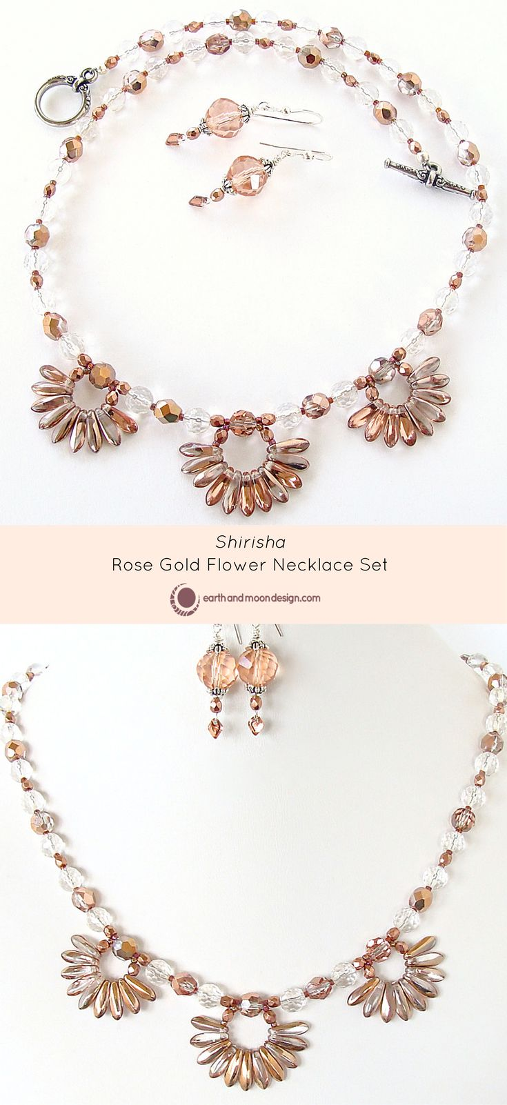 """Feminine and luminous, this necklace is aptly named Shirisha, meaning flower and shining sun. Its rock crystal gemstones and Czech glass daggers create a graceful burst of style. Full length 18"""". This"""
