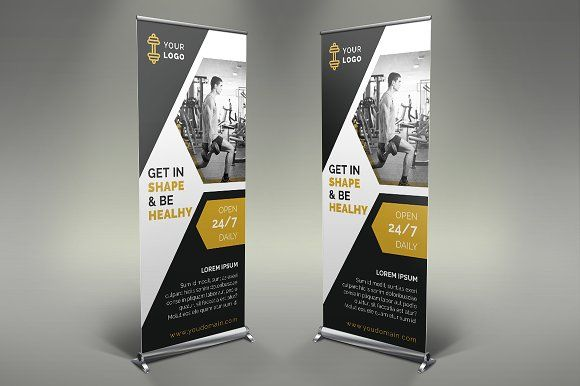 0cf2f7b0062d0 Gym Roll Up Banner by Creatricks on  creativemarket