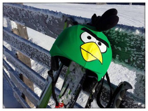 Green bird helmet cover