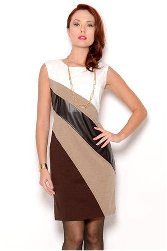 Emma & Michelle Faux Leather Striped Dress - Enviius