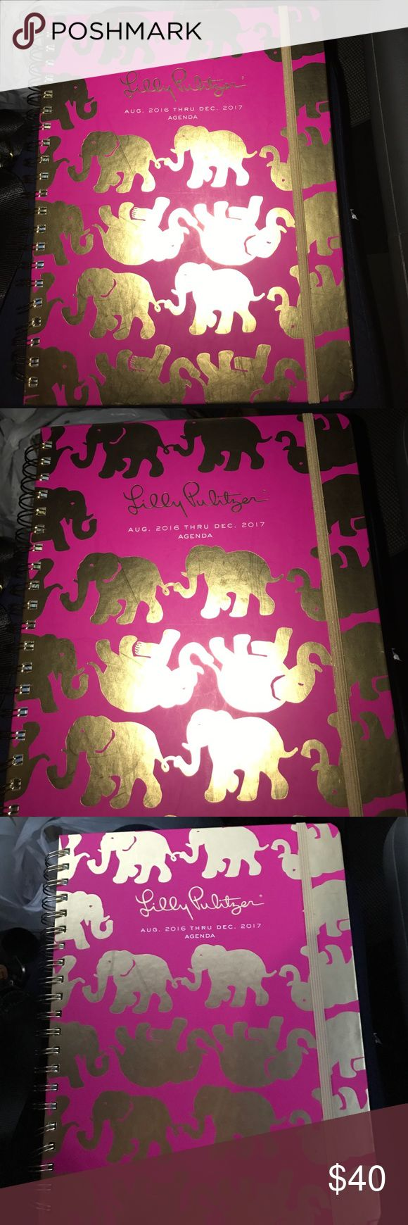 Lily Pulitzer Jumbo agenda aug 2016-December 2017 Jumbo agenda pink with gold elephants gorgeous and big sure to catch the eyes of many Lilly Pulitzer Other