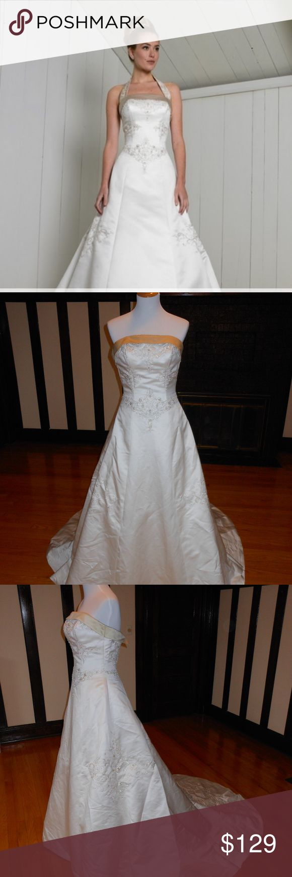 """Sincerity Bridal Wedding Dress 3458 This is an Authentic SINCERITY Bridal Wedding Dress Gown. The style number of the dress is 3458. It has a gorgeous A line style with a fabulous long train.  It does not come with the removable straps. This dress is brand new in great condition with the original label. It was never worn.  Size: 4 Bust: 34"""" Waist: 27"""" Hips: free  Color: Ivory/Taupe Sincerity Bridal Dresses Wedding"""