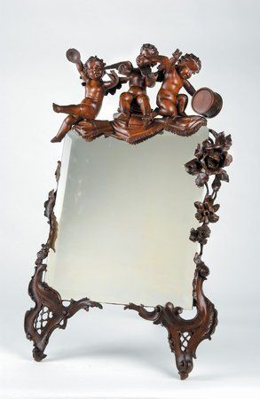 215: 19th C Venetian Fantasy Mirror Carved Cherubs : Lot 215
