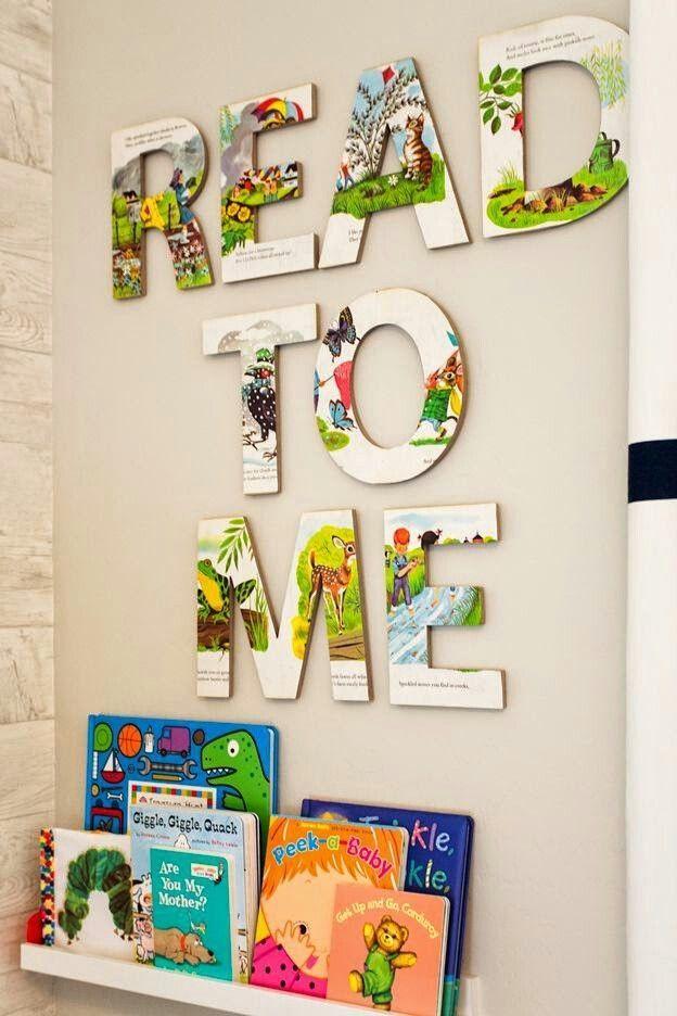 cute diy kids room idea...make letters from vintage children books...