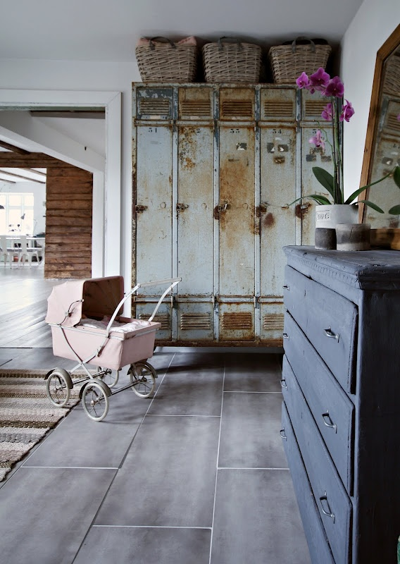 baskets and lockers and the wonderful baby carriage!!: Renovated Norwegian, Interior, Decor Ideas, Shabby Chic, Norwegian Homes, House, Baby, Vintage Lockers, Lovingly Renovated