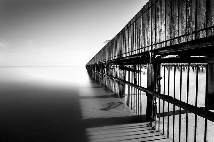 Brighton Baths, bnw photo, wooden jetty, smooth sea, long exposure