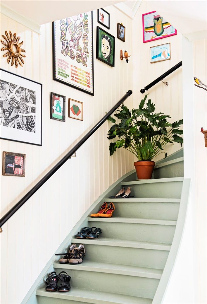 Cheerfully painted basement stairs