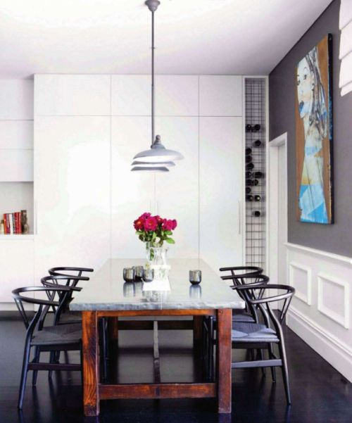 modern industrial - love the wooden table with marble top. Want this for dining area