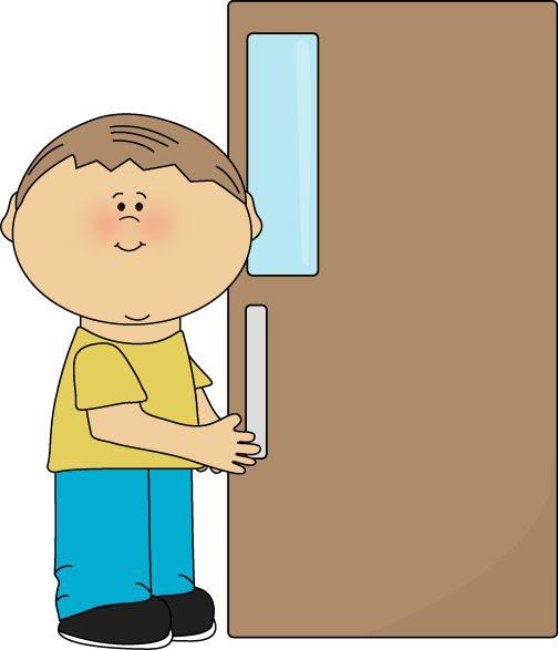 shut the doorclipart | Boy Door Holder Clip Art Image - boy holding a door open. This image ...