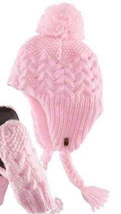 Pletená čepice s fleecem růžová teplá zimní