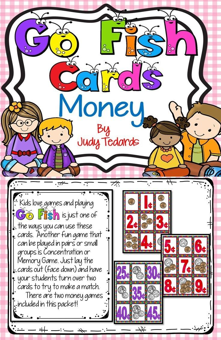 Go fish cards money fishing cards card games for kids