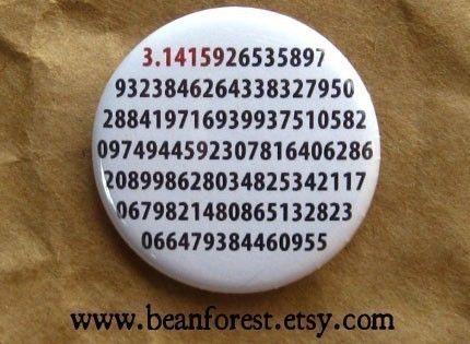 it's pi  math teacher  pinback button badge by beanforest on Etsy, $1.50