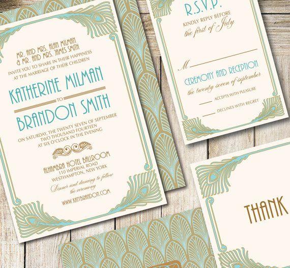 Art Deco Printable Wedding Invitation Set   Art Deco Diy Printable  Invitation   Glamour Wedding Invitation